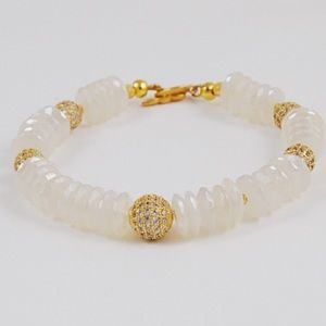 Jewelry - White Chalcedony Rondelle and Gold Pace Bracelet